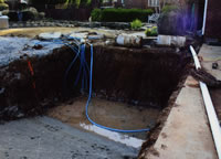 Excavate and run lines for fiberglass pool